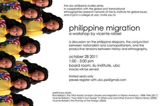 This workshop features a discussion of historian Vince Rafael's writings on the Philippine diaspora, the conjunction between nationalism and cosmopolitanism and the productive tensions between the study of history and ethnography.
