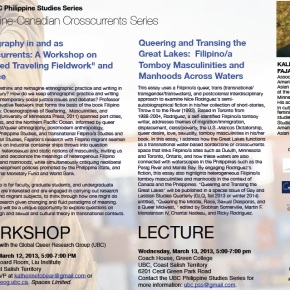 March 12-13: Philippine-Canadian Crosscurrents Third Installment with Professor Kale Bantigue Fajardo