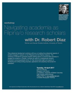 Apr 18: Navigating academia as Filipina/o research scholars