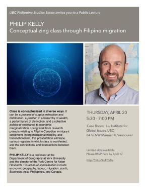 April 20 Guest Lecture: Philip Kelly. Conceptualizing class through Filipinomigration