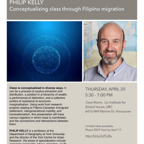 April 20 Guest Lecture: Philip Kelly. Conceptualizing class through Filipino migration